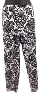 Other Floral Straight Pants Black and white
