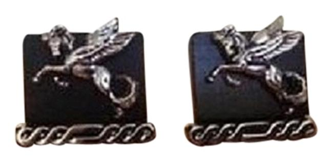Item - Sterling Silver / Ebony Wood Vintage 1950's & Pegasus Cufflinks