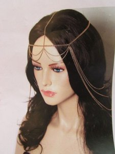 Women Gold Metal Long Head Chain Fashion Jewelry Front Back Waves Drapes