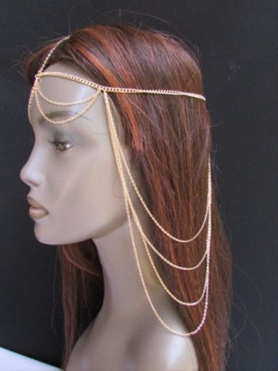 Other Women Gold Metal Long Head Chain Fashion Jewelry Front Back Waves Drapes