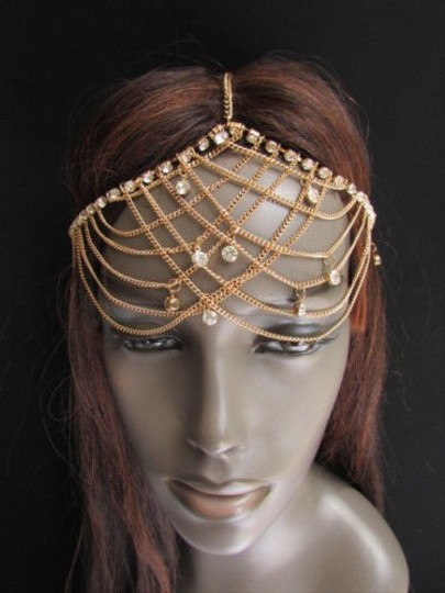 Other Women Gold Metal Forehead Head Chain Fashion Jewelry Silver Multi Rhinestones