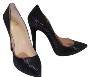Christian Louboutin Snakeskin Stilleto Black Pumps