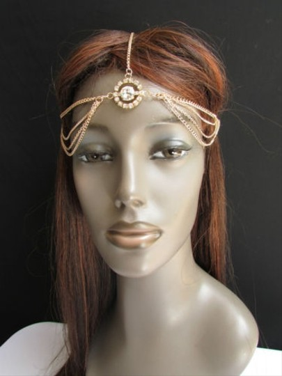 Other Women Gold Metal Head Band Chain Hair Fashion Jewelry Big Center Rhinestones