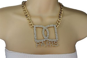 Women Gold Metal Chains Fashion Short Necklace Big Rhinestones Paris Pendant