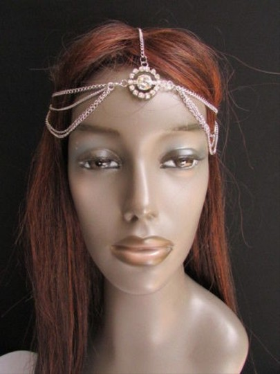 Other Women Silver Metal Head Chain Band Fashion Jewelry Big Center Multi Rhinestones