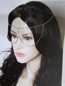 Women Silver Metal Long Head Chain Fashion Jewelry Front Glasses Eye Cover