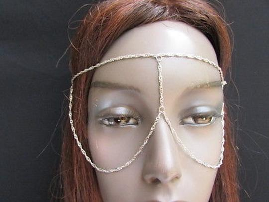 Other Women Silver Metal Long Head Chain Fashion Jewelry Front Glasses Eye Cover