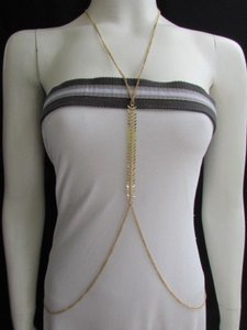 Other Women Gold Long Body Chain Fish Bones Rhinestones Necklace