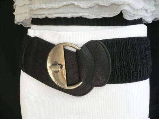 Other Women Hip Elastic Black Wide Fashion Belt Big Circle Buckles 26-37