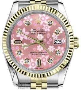 Rolex Men's 36mm Datejust2Tone Glossy Pink Flower Dial 8+2 Diamond Accent