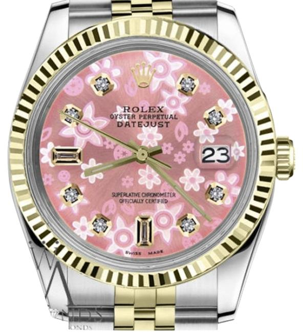Rolex Men's 36mm Datejust2tone Glossy Pink Flower Dial 8+2 Diamond Accent Watch Rolex Men's 36mm Datejust2tone Glossy Pink Flower Dial 8+2 Diamond Accent Watch Image 1