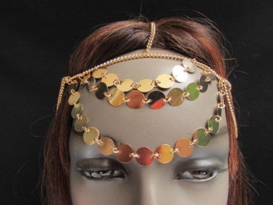 Other Women Gold Head Chain Falling Rain Fashion Jewerly Round Sparkling Front Circles