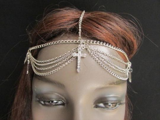 Other Women Silver Metal Head Chain Fashion Jewelry Big Center Cross Rhinestones