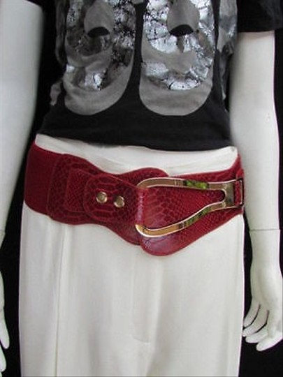 Other Women Hip Waist Faux Leather Red Wide Western Fashion Belt 25-35