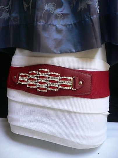 Other Women Red Waist Hip Elastic Fashion Belt Rhinestones Beads Buckle