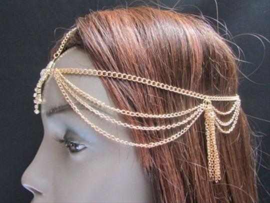 Other Women Gold Metal Head Chain Fashion Hair Jewelry Front Square Rhinestones