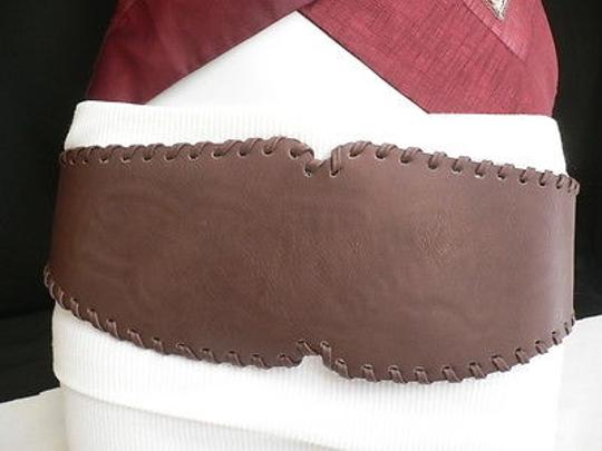 Other ,,,Hip,Waist,Faux,Leather,D.,Brown,Wide,Western,Fashion,Belt,,