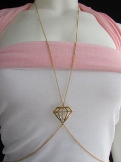 Other Women Gold Body Chain Long Necklace Gem Pendant Elegant Design Thin Chain