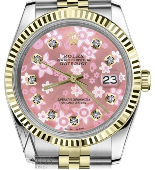 Rolex Women's 31mm Datejust2tone Glossy Pink Flower Dial Diamond Accent Watch Rolex Women's 31mm Datejust2tone Glossy Pink Flower Dial Diamond Accent Watch Image 1