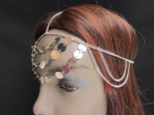Other Women Silver Head Chain Fall Rain Fashion Jewerly Round Sparkling Front Circles