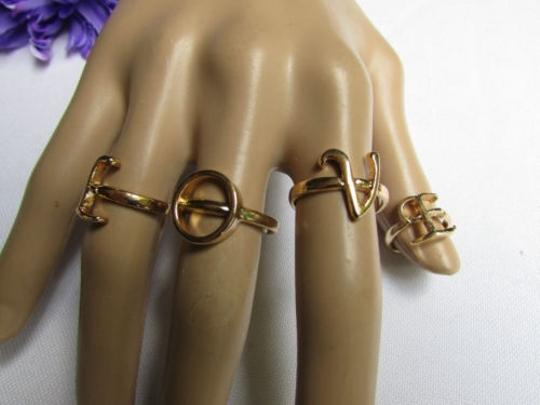 Other Women Gold Metal Fingers Bands Love Fashion Rings Or One Finger Together