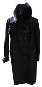 Burberry Fox Fur Cashmere Long Trench Coat
