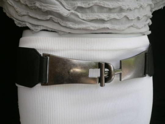 Other Women Hip Elastic Black Fashion Belt Long Silver Metal Buckles 28-34