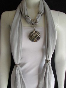 Other Women L. Gray Soft Fabric Fashion Scarf Long Necklace Silver Hole Glass Pendant