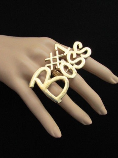 Other Women Gold Metal 1 Boss Huge Trendy Fashion Ring Elastic Band