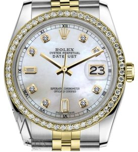 Rolex Ladies Rolex 31mm Datejust 2 Tone White MOP Dial Diamond Accent