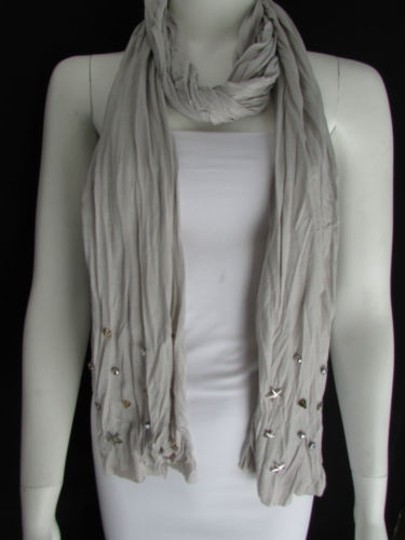 Other Women Gray Scarf Silver Metal Stuning Stars Studs Casual Fashion Design Flowy
