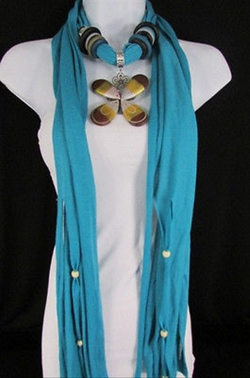 Other Women Baby Blue Soft Fabric Brown Yellow Wood Flower Pendant Fashion Scarf