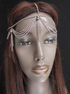 Women Silver Metal Fringes Head Chain Fashion Jewelry Big Pewter Multi Beads