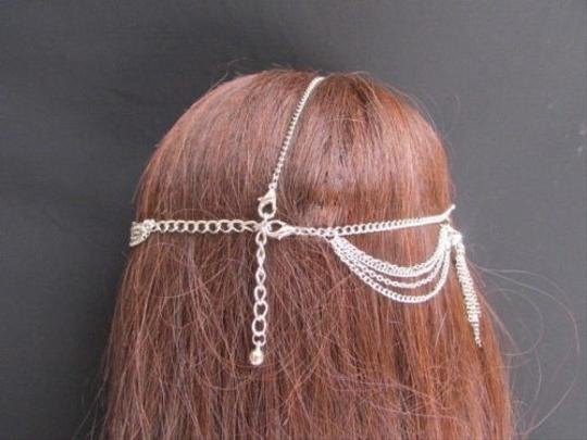 Other Women Silver Metal Fringes Head Chain Fashion Jewelry Big Pewter Multi Beads