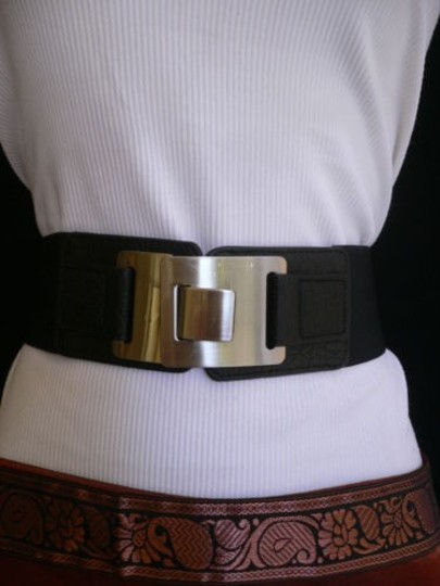 Other Women Hip High Waist Elastic Black Faux Leather Fashion Belt 26-37