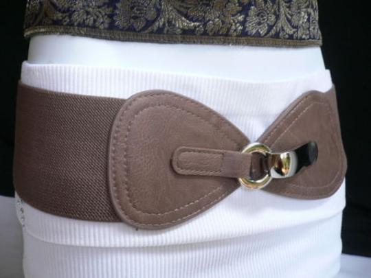 Other Women Waist Hip Elastic Light Brown Wide Fashion Belt Front Bow 27-37 S-l