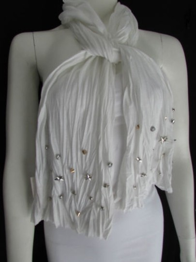 Other Women Soft Fabric Fashion White Scarf Long Necklace Silver Metal Stars Studs