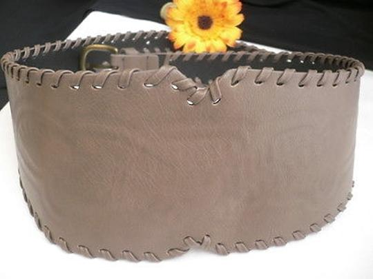 Other Women Hip High Waist Faux Leather Gray Wide Western Fashion Belt 29-34 Sm