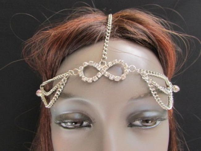 Item - Women Silver Metal Head Chain Fashion Jewelry Big Infinity Multi Rhinestones
