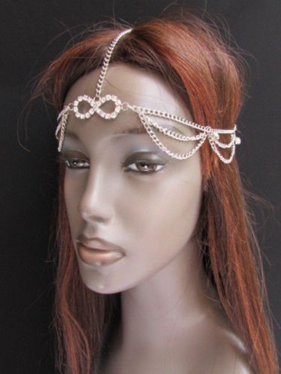Other Women Silver Metal Head Chain Fashion Jewelry Big Infinity Multi Rhinestones