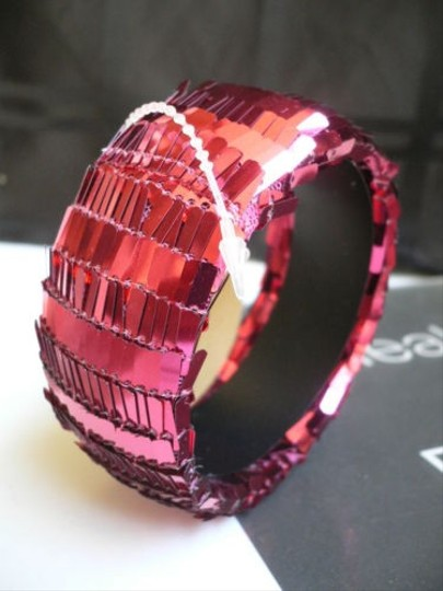 Other Women Red Sequins Disco Fashion Bracelet Chic Clubbing 80s Bangle