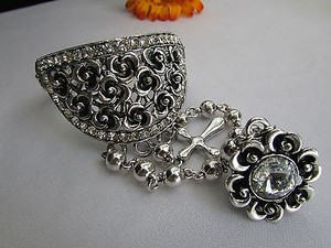 Other Women Antique Silver Flower Slave Ring Bracelet Hand Chain Rhinestones Beads