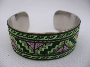Other Women Gold Metal Cuff African Drawing Bracelet Green Color Adjustable