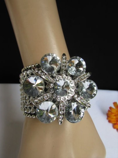 Preload https://item1.tradesy.com/images/other-women-silver-big-flower-fashion-black-leather-bracelet-beads-rhinestone-1924810-0-0.jpg?width=440&height=440