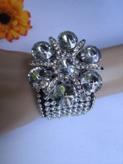 Other Women Silver Big Flower Fashion Black Leather Bracelet Beads Rhinestone