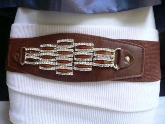 Other Women Waist Hip Elastic Brown Fashion Belt Rhinestones Buckle 27-37 S-l