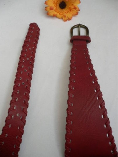 Other Women Hip High Waist Faux Leather Red Wide Western Fashion Belt 29-34 Sm