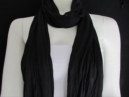 Other Women Scarf Soft Fabric Fashion Black Long Necklace Silver Metal Stars Studs