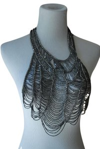 Vera Wang VERA WANG Bead Crystal rhinestone spider WEB BIB statement NECKLACE