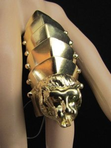 Other Women Gold Metal Plates Lion Head Face Huge Trendy Fashion Ring Elastic Back